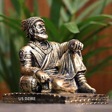 US DZIRE™ 900 Chatrapati Shivaji Maharaj Idols Handcraft Statue for Car Dashboard, Mandir Murti & Office Sculpture Figurines Decorative Showpiece - Home Decor Lo