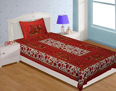 UNIBLISS 100% Cotton Rajasthani Jaipuri Traditional Single Bed Sheet with One Pillow Cover - (Single_Red)
