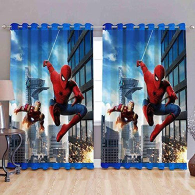 Yes Cart 3D Printed Spider Man Eyelet Window Curtains Set of 2 for Kids Room||5ft - Home Decor Lo
