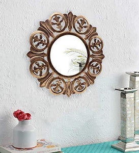 The Kraft International Decorative Wooden Wall Mirror/Decor for Living Room, Bedroom, Hallway, Office (Gold, 60 x 60 x 1.5 - cm) - Home Decor Lo