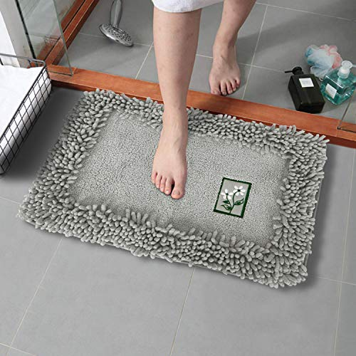 HOKIPO® Soft Microfiber Bath Mats for Home, 40x60cm, Grey (AR-2852-GRY)