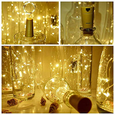 J Studio (1 Pack)2M 20LED Wine Bottle Cork String Light Copper Wire Starry Fairy Lights Battery Powered Warm White DIY, Party, Decoration, Wedding, Gift Box (Pack of 1)