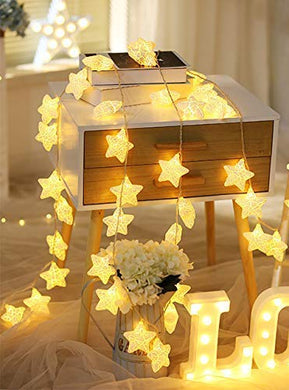 CITRA 16 Led Frosted Crackle Star Copper String Fairy Light for Home,Office, Diwali, Eid & Christmas Decoration - Warm White