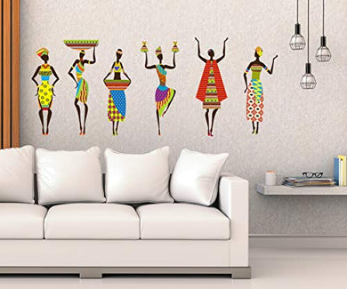 Studio Curate Large Size Wall Sticker for Living Room, Bedroom, Hall, Kitchen Decor | African Tribal Women| PVC Vinyl | Pack of 1 (79cm x 51cm)