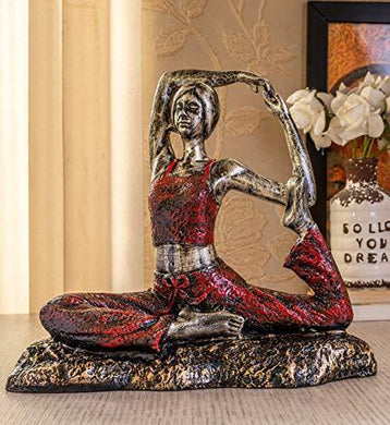 TIED RIBBONS Yoga Posture Lady Statue Figurine for Home Table Top Living Room Hall Bedroom Shelf Decoration - Yoga Statue in Decor (29 X 25 cm, L X H) - Home Decor Lo