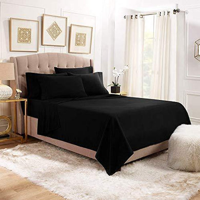 YRM Bedding's 500TC Egyptian Cotton Extra Soft Material Bedsheets Single Bed Flat Sheet with Pillow Covers, (17x27 | Black)