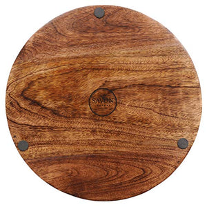 SAVON Wood Party Serving Platter Round Cheese Wine Crackers Meat Circle Board Tray - 14 Inch