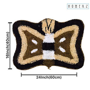 Homerz Premium Set of 5 Super Soft Microfiber Butterfly Mat | Bath Mat | Door Mat | 16 x 24 Inch Guaranteed Exact Size (Multicolor, 5)