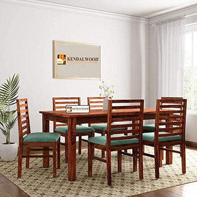 Hariom Handicraft KendalWood Furniture Sheesham Wood Teak Finish Dining Table Set with 6 Chairs and Cushion