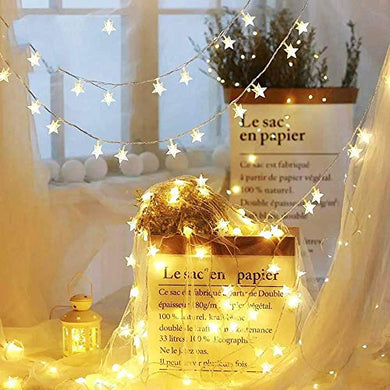 CITRA 28 Led Frosted Star Pixel String Fairy Light for Home,Office, Diwali, Eid & Christmas Decoration - Warm White