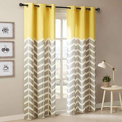 Amazures Polyester Silhouette Yellow Digital Printed Curtain Set of 2, 48x84-inch - Home Decor Lo