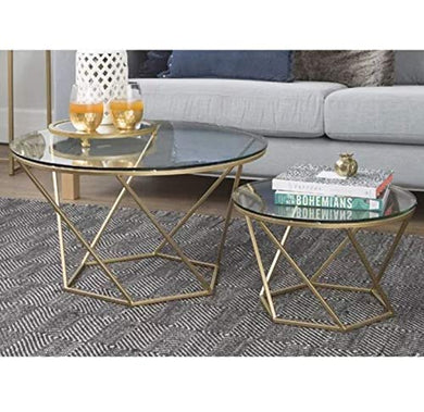SMC FURNITURE Coffee Table , Standard , Gold Finish -Set of 2 Piece
