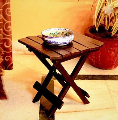 Worthy Shoppee Wooden Folding Table for Living Room,12x12x12 Inch ,Brown - Home Decor Lo