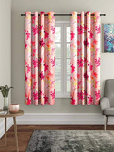 Load image into Gallery viewer, Home Sizzler 3D Flower Polyester 5 ft Window Curtain (Pink) -2 Pieces