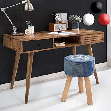 G Fine Furniture Wooden Writing Study Desk for Room Table for Adults | Study Table for Home and Office | Sheesham Wood, Brown & Black