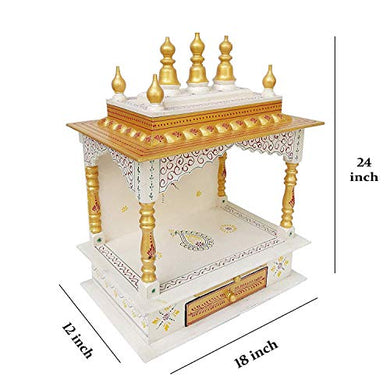 Kamdhenu art and craft Wood Home Temple (45 x 30 x 60 cm, Copper and Gold)