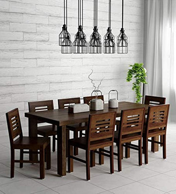 Hariom Handicraft KendalWood Furniture Sheesham Wood 8 Seater Dining Table Set with Chairs (Walnut Finish)