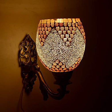 Shivam Lites Shivam Wall Lamp/Light with Hand Decorated Mosaic Glass Shade & Metal Fitting, Goldencolor