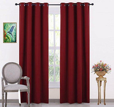 LE HAVRE Premium Silk Blackout Curtain Pack of 2 Piece with 3 Layers Weaving Technology & Solid Grommet Pattern/Thermal Insulated Draperies Energy Saving (Width - 48inch X 72inch -Length) Maroon - Home Decor Lo