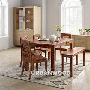 Sheesham Wood Wooden Dining Set 6 Seater with 4 Chairs & 1 Bench | 2 Drawer Storage - Home Decor Lo