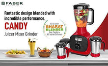 Load image into Gallery viewer, Faber 800W Juicer Mixer Grinder with 3 Stainless Steel Jar+ 1 Fruit Filter (FMG Candy 800 3J+1 Pc), Mystic Red