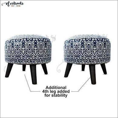 Nestroots Stool for Living Room Sitting Printed Ottoman upholstered Foam Cushioned pouffe Puffy for Foot Rest Home Furniture with 4 Wooden Legs Cotton Canvas (14