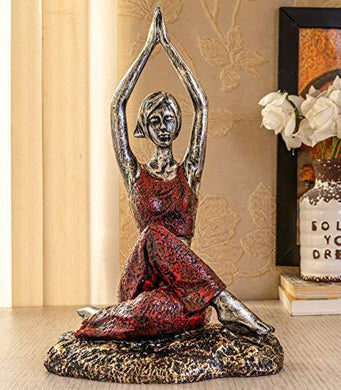 TIED RIBBONS Yoga Lady Statue Figurine for Home Table Top Living Room Hall Bedroom Shelf Decoration - Yoga Posture Statue (19.5 X 31.5 cm, L X H) - Home Decor Lo