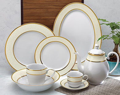 ALDA High Quality Porcelain Luxury Gold Dinner Set 33 Pcs Crockery Set