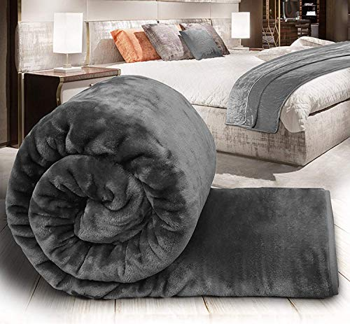 Craftscity Floral Embossed Mink Blanket Double Bed (Grey)