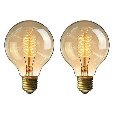 KingSo Vintage Edison Bulbs 40W Incandescent Antique Light Bulb Dimmable for Home Light Fixtures Squirrel Cage Filament E27 Base G80 220V (Warm White) -2 Pack