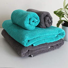 Load image into Gallery viewer, Heelium Bamboo Towel Set (Bath & Hand Combo), 600 GSM, Ultra Soft, Super Absorbent, Antibacterial, 4 Pieces (Grey, Teal) - Home Decor Lo