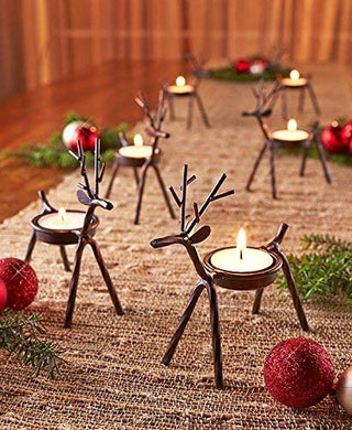 The Purple Tree Cute Christmas Reindeer Tealight Holder - 4 pc (Black) Reindeer Shaped tealight Holder, Christmas Gift, Christmas Lights, Christmas tealight