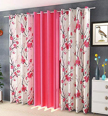 Soulful Creations Polyester Floral Curtain, Door - 7 Feet, Pink Bale, Pack of 3