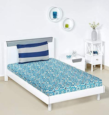 Amazon Brand - Solimo Bubble Bounty 144 TC 100% Cotton Single Bedsheet with 1 Pillow Covers, Blue