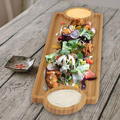 FWQPRA® Wooden Bamboo Appetizer Platter Serving Tray Chip & Dip Tray Serving Set (Pack of 1)