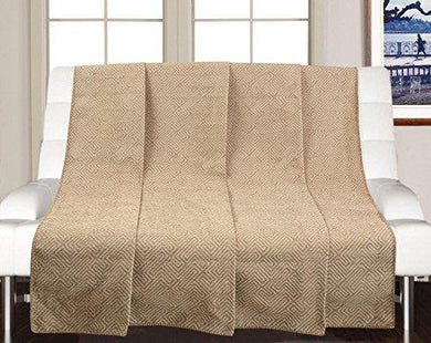Saral Home Soft Reversible Decorative Synthetic Chenille Sofa Covers/Throw (Beige, 140x210cm) - Home Decor Lo