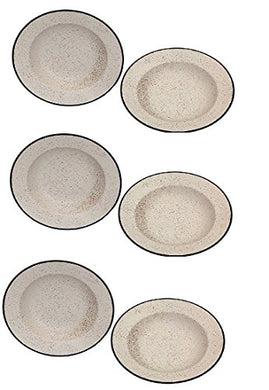 VolCraft Ceramic Soup/Maggi/Macaroni/Pasta Plate 9 inches Ceramic/Stoneware Handmade Pottery in Marble Matte Style in Off White Color (Set of 6) Plate Set