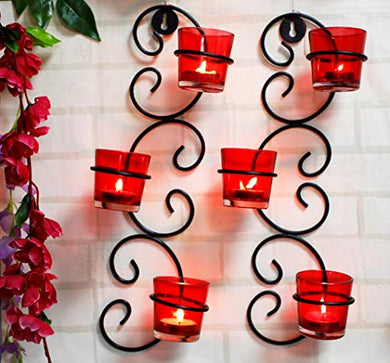 Okya Set of 2 Wall Hanging Tealight Candle Holder Metal Wall Sconce with Glass Cups, Tealight Candles for Home Décor, Antique Metal Wall Scone Candle Holder, Spa Settings Aromatherapy