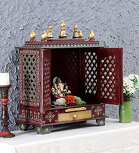 Load image into Gallery viewer, Wooden Temple/Home Temple/Pooja Mandir/Pooja Mandap/Temple for Home by Kamdhenu Art And Craft (Maroon)