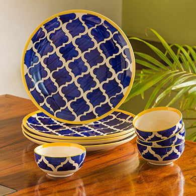 ExclusiveLane 'Moroccan Handpainted' Ceramic Plates for Dinner Ceramic Dinner Plates with Katoris (8 Pieces, Serving for 4, Dishwasher & Microwave Safe) -Dinner Sets Ceramic Bowls Set Dinnerware Sets