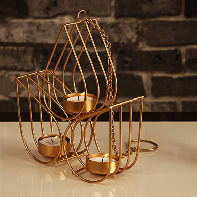 Gliteri Gallery Triple Drops Metal Wall Hanging Golden Tea Light Candle Holder for Home Decoration Living Room Gifts Diwali (Height 8 inch)