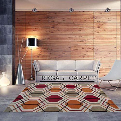 Regal Carpet Embossed Carved Handmade Tuffted Woollen Thick Geometrical Carpet for Living Room Bedroom Home Size 3 x 5 feet (90X150 cm) Ivory & Orange Multi - Home Decor Lo