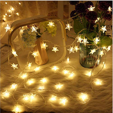 fizzytech 20 LED Star String Lights for Indoor Outdoor Home Party Decoration (Warm White, 3 m)