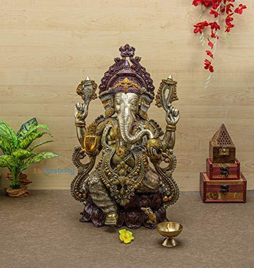 La' Creativity La Creativity Handcrafted 2Feet Brass Big Ganesha Statue | Spiritual | | Home Decor | - Home Decor Lo