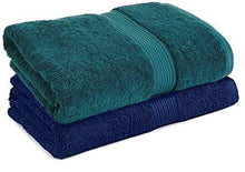 Load image into Gallery viewer, Trella 100% Cotton 500 GSM Large Cotton Bath Towel Set - 2 Piece :: 140 x 70 cm (Green Blue) - Home Decor Lo