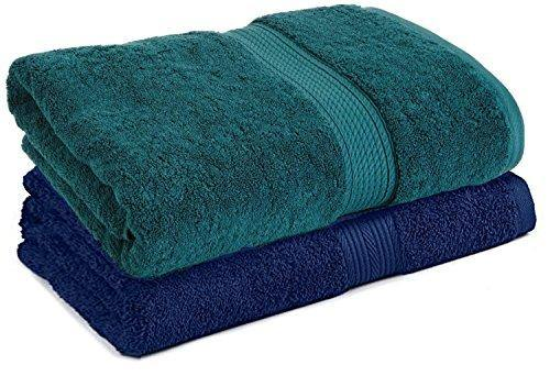 Trella 100% Cotton 500 GSM Large Cotton Bath Towel Set - 2 Piece :: 140 x 70 cm (Green Blue) - Home Decor Lo