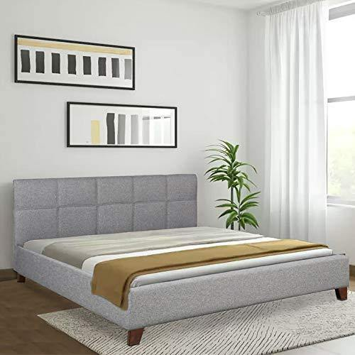 HomeTown Allen Engineered Wood Fabric Upholstered King Size Bed in Grey Colour - Home Decor Lo