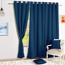 Load image into Gallery viewer, Story@Home Blackout Eyelet 1 Piece Faux Silk Ring top Door Curtain-7 feet, Navy Blue
