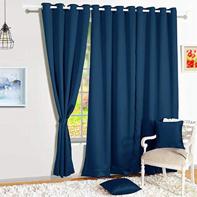 Story@Home Blackout Eyelet 1 Piece Faux Silk Ring top Door Curtain-7 feet, Navy Blue