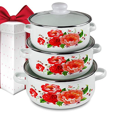iBELL ND3318 Decorative Enamel Casserole with Sturdy Glass Lids, Gift Set of 3 (1.7, 2.2, 3Litre), White